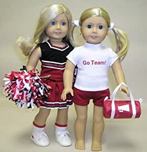 "Cheerleader Uniform and Practice Outfit in Red and Black. Fits 18"" Dolls Like American Girl®"