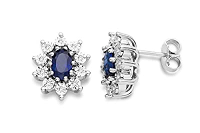 Miore Women's 925 Sterling Silver Sapphire Blue and Diamonds Cluster Stud Earrings