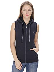 NGT Sleeveless Navy Blue Sweatshirt For Women.