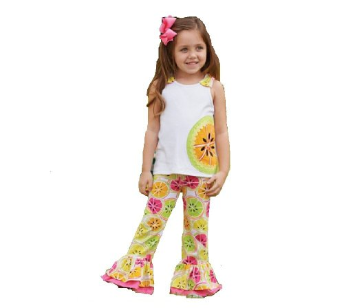 Mud Pie Little Girls' Citrus Pant Set, Multi, 2T back-79881