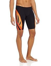 TYR Men\'s Phoenix Splice Jammer Swimsuit (Black/Orange, 30)