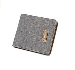 Light Coffee Mens Leather Wallet Purse Money Clip Billhold (120x95mm, Gray)