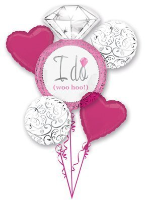 Hot Pink White Silver I DO Wedding Ring 5 Balloon Bouquet Kit - Bridal Shower