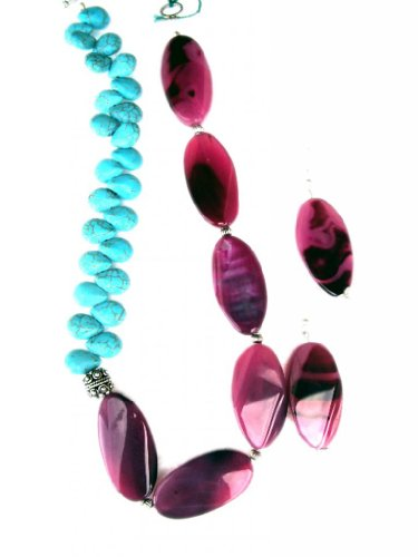 Dhwani Agate n Turquoise Necklace set for women