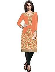 RK Exports Women's Dark Peach Fully Stitched Georgette Kurti - B01LDHFR7Y