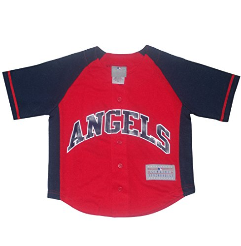 Mlb Los Angeles Dodgers Hunter #48 Boys Button Down Baseball Jersey Xs(4/5) Red & Dark Blue front-1005580