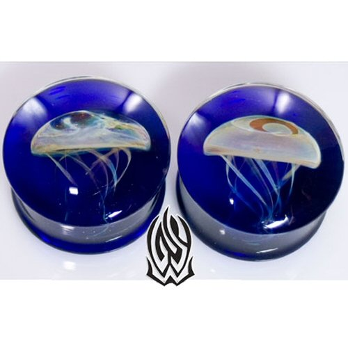 Pair of Glass Double Flared Amber Purple Jellyfish Plugs: 11/16