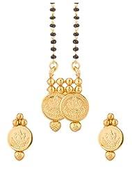 Voylla Single Chain Yellow Gold Tone Mangalsutra Set For Women