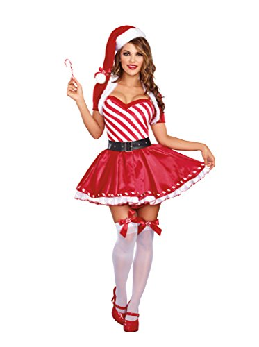 [Dreamgirl Women's Candy Cane Cutie Costume, Red/White, X-Large] (Candy Woman Costumes)