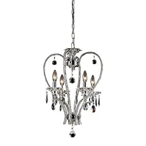 Elk 82001/4 15 by 23-Inch Drapersfield 4-Light Crystal Chandelier Lamp with Clear Crystal, Polished Chrome Finish