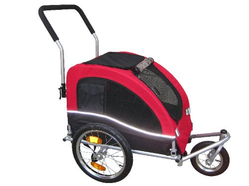 Booyah Medium Dog Pet Bike Trailer and Stroller Red