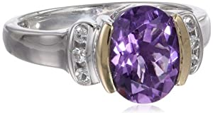 S&G Sterling Silver, 14k Yellow Gold, White Topaz, and Oval Amethyst Ring by Amazon Curated Collection