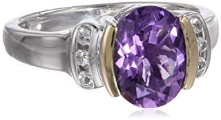 S&G Sterling Silver and 14k Yellow Gold White Topaz and Oval Amethyst Ring, Size 9