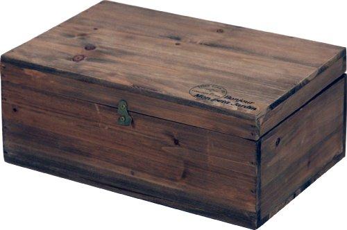 不二貿易 木製ボックス 蓋付 アンティーク風 ブラウン 91746