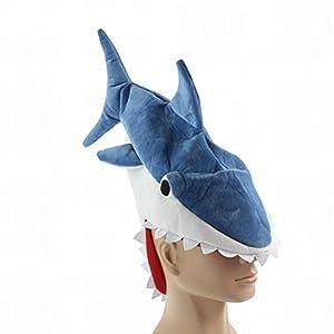 (バハギア) Bahagia 人食いサメ 帽子 ハロウィン ( サメ コスプレ ハット + フォトプロップス 面白変身 セット ) 恐怖 ジョーズ 仮装 コスチューム ピラニア 衣装 イベント パーティ 写真撮影 小物 小道具 フリーサイズ The shocking hat shark (ブルー)