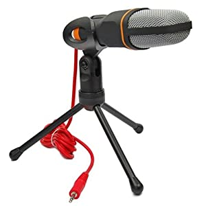 Professional Condenser Sound Microphone With Stand for PC Laptop Skype Recording Black from SOONHUA
