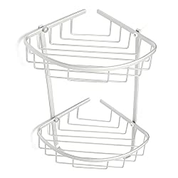 Bathroom Double Layer Triangle Coner Storage Rack Sundries Holder Stand Shelves