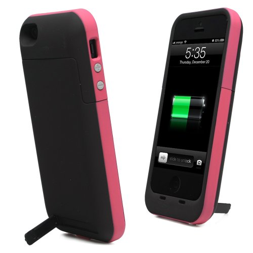 Best Price KAYSCASE Power2500 Battery Cover Case for Apple new iPhone 5 / iPhone 5S Charge and Sync with Lightning Port One Year Warranty (Hot Pink)