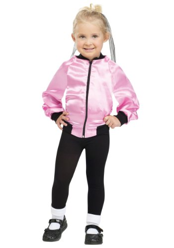 Little Girls' Satin Pink Lady Jacket Small (24 Months - 2T) (Girls Nifty 1950s Costume)