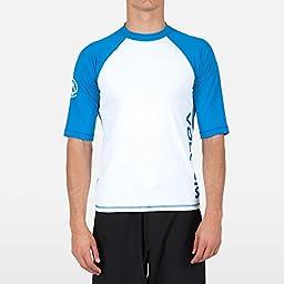 Volcom Men\'s Coloblock Short Sleeve Rashgaurd Shirt, White, Large