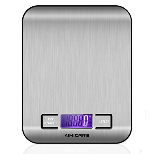 Kimicare Digital Food Scale Multifunction Kitchen Scale with LCD Display, 11 lb 5kg, Stainless Steel Platform, Silver (Bright Spring Measuring Spoons compare prices)