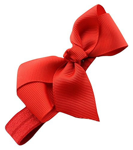 PinkXenia Satin HairBow Elastic Newborn BabyGirl Red Headbands