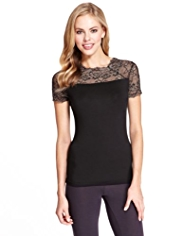 Heatgen™ Floral Lace Metallic Effect Thermal Top