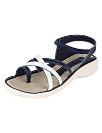 Niremo Women's Blue Shoe Ankle Strap Gladiator Flat Sandal