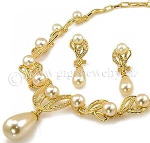 White drop pearls 2 pc set