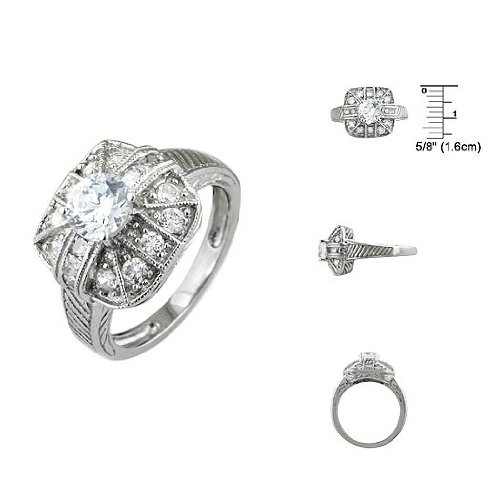 Sterling Silver Pave Cushion and Brilliant CZ Anniversary Ring Size: 6