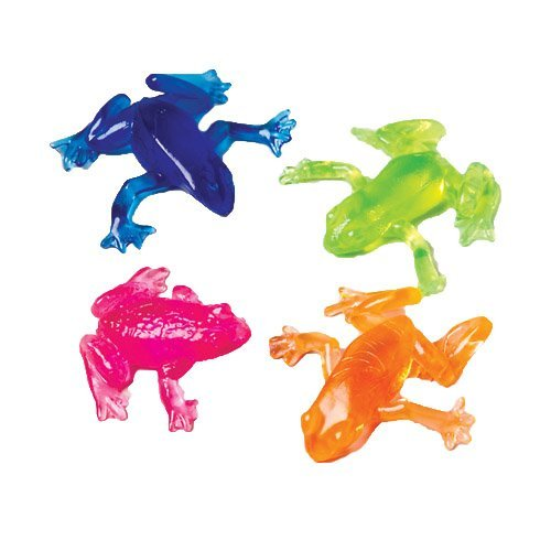 Lot Of 12 Assorted Color Stretchy Sticky Frog Toys - 1