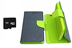 PREGO 4GB SD Micro Memory card Card With Green Mercury Goospery Fancy Diary Wallet Flip Cover For HTC Desire 820