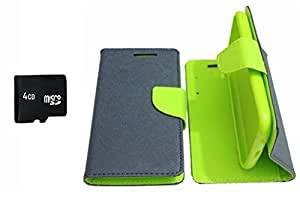 PREGO 4GB SD Micro Memory card Card With Green Mercury Goospery Fancy Diary Wallet Flip Cover For HTC Desire 626