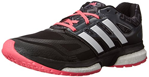 adidas Performance Women's Response Boost Techfit W Running Shoe, Core Black/Running White/Neon Pink, 10 M US