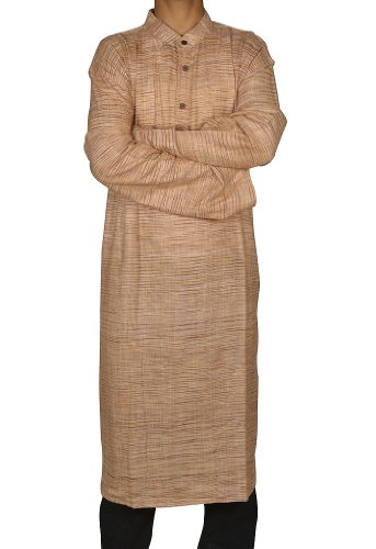 Mens Casual Cotton Khadi Long Kurta Fabric For Winter & Summers Size 5XL