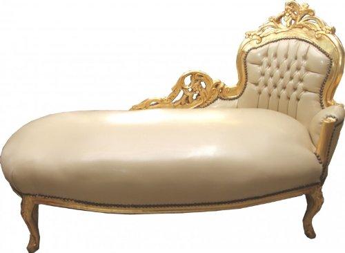 Casa Padrino Barock Chaiselongue Creme/Gold Lederoptik - Recamiere Liege Lounge
