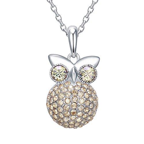Gufo ciondolo cristallo Swarovski Element d'oro - Blue Pearls - CRY E251 J Champagne