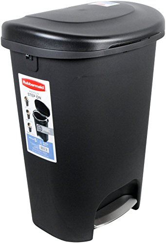 Rubbermaid Step-On Wastebasket Trash Can, 13-Gallon, Metal-Accent Black, 1843029 (Step Garbage Can 13 Gallon compare prices)