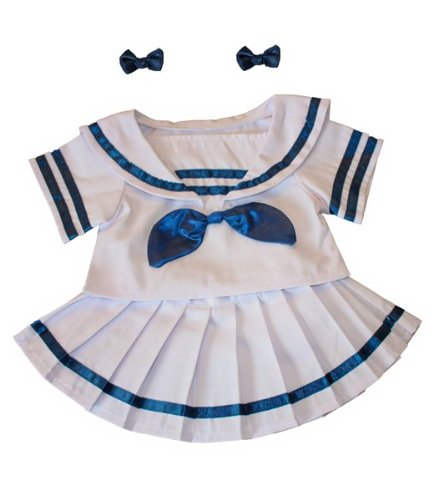 """Sailor Girl w/Bows Dress Outfit Teddy Bear Clothes Fits Most 14"""" - 18"""" Build-A-Bear, Vermont Teddy Bears, and Make Your Own Stuffed Animals"""