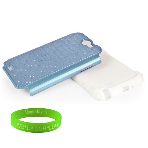 Quality Samsung Galaxy Note Ii 2 Hybrid Hard Snap On Case -( Pastel Blue Elegant Diamond Design With Bedazzled Jewels ) + Vangoddy Trademarked Live Laugh Love Wrist Band
