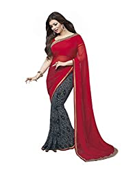 VinayTM Elegant Traditional Designer Georgette Lace Work Printed Red Black Saree With Blouse Material