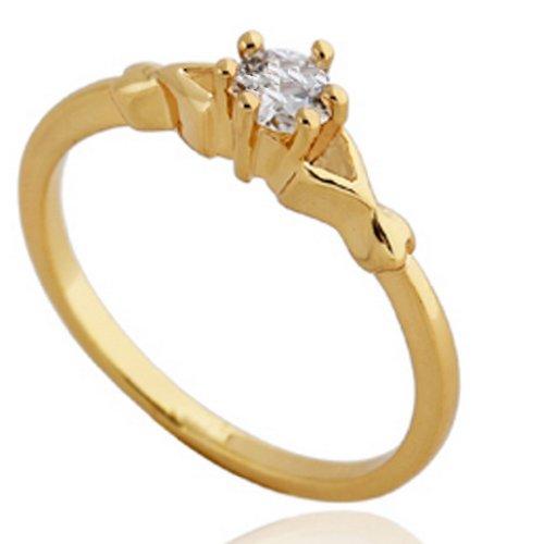C-Princessリング 指輪 18K金メッキ コーティング ラインストーン レディース 女性 アクセサリー ジュエリー エンゲージリング エレガント 使いやすい (12, イエローゴールド)