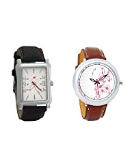 Gledati Men's White Dial And Foster's Women's White Dial Analog Watch Combo_ADCOMB0001776