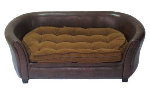 """Cool Runners Faux Leather Dog Couch/Sofa/Bed with Faux Suede Tufted Cushion, Brown 36"""" x 21"""" x 15"""""""