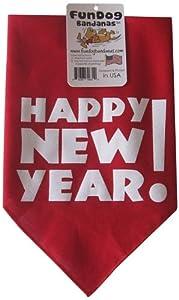 Fun Dog Bandanas Happy New Year Bandana for Dogs, 22 by 22 by 31-Inch