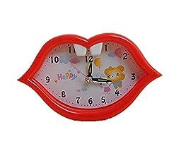 Cartoon Colored Lips Alarm Clock Students\' Bedside Clock (Red)