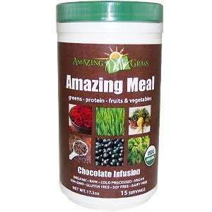 Amazing Grass Amazing Meal, Organic Chocolate Infusion Powder, Gluten Free, 15 Servings, 17.3-Ounce Container