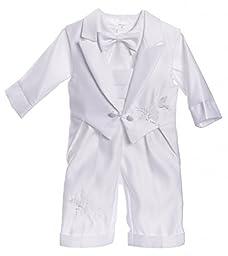 Caldore Boys Christening Tail Vest Dove Design Pants Set Size 6-9 ( S )