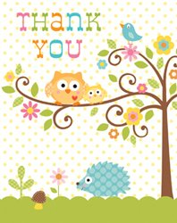 Owl Thank You Cards With White Envelopes - 8 Pack front-59572