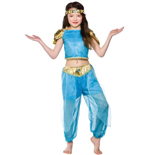 Girls Arabian Princess Costume Fancy Dress Up Party Halloween Outfit Kids Medium image